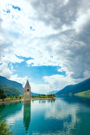 tyrol: Bell tower of the Reschensee (Resia) South Tyrol Italy Stock Photo