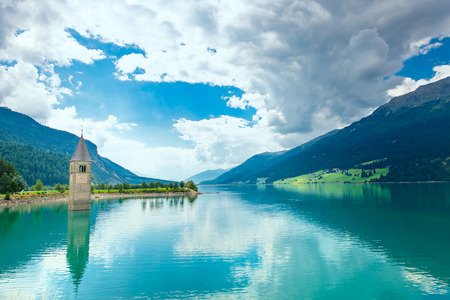 tyrol: Bell tower of the Reschensee Resia in South Tyrol, Italy