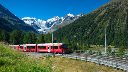 Swiss mountain train Bernina Express crossed Alps