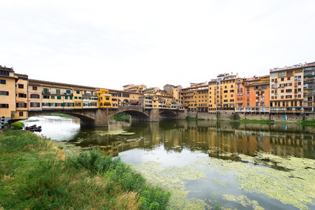 old bridge: Florence, view of the Arno River with the old bridge ponte vecchio Stock Photo