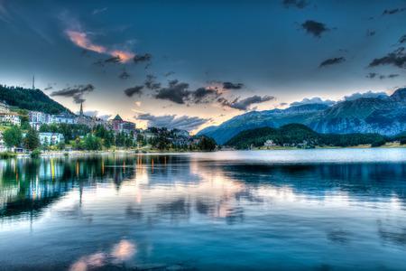 St. Moritz - Switzerland, at sunset Banque d'images