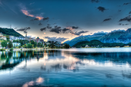 St. Moritz - Switzerland, at sunset Stock Photo