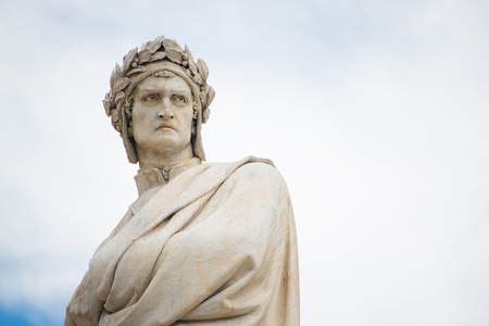 dante alighieri: Statue of Dante Alighieri in Florence, Italy Stock Photo