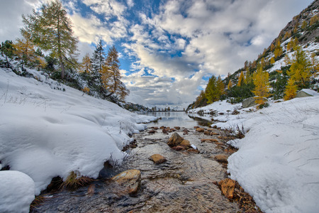 enters: Mountain small river enters the lake in autumn with the first snow