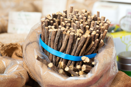 herb medicine: Licorice sticks packed street markets Stock Photo