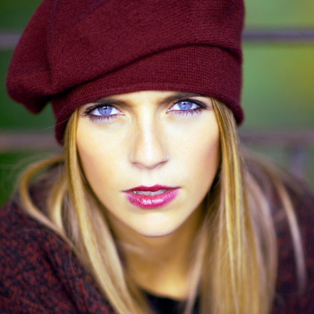 pretty eyes: Portrait of blond girl with blue eyes with Basque