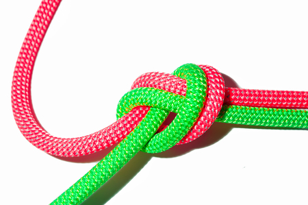 tied together: Ropes tied together by a node