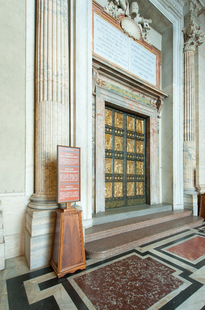 st  peter's basilica pope: Holy Door Basilica of St. Peter Rome. Ready for jubilee mercy 2015 Stock Photo