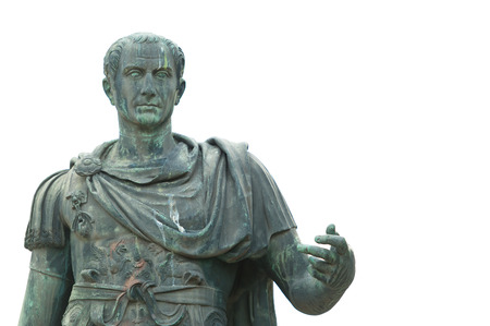Bronze statue near the Roman Forum emperor Julius Caesar Фото со стока