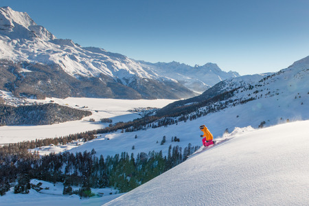 Woman telemark skier