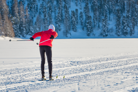 crosscountry: Cross-country skier on track pushes shoe