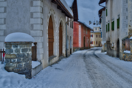 glimpse: Glimpse of the village of S-chanf in the Engadine valley in Switzerland Stock Photo