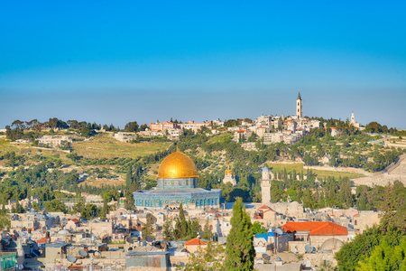 mount of olives: Dome of the Rock Mosque on the Temple Mount and the Mount of Olives in Jerusalem Israel