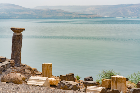 Capernaum on the coast of the lake of Galilee. Across the lake Jordan. This is the place where Jesus taught