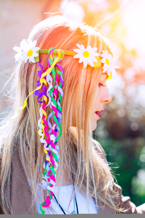 indie: Girl hippie indie style with a symbol of peace in nature