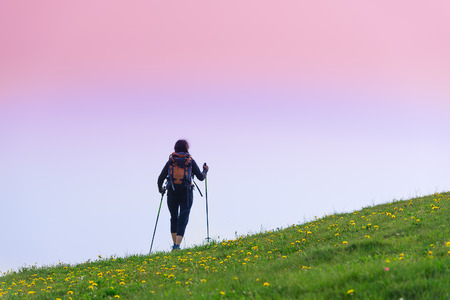 holiday maker: Girl makes trekking alone in the meadow Stock Photo