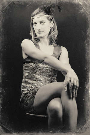30s: Female style 30s art. Deliberately damaged to simulate vintage photograph picture Stock Photo
