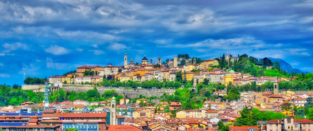 The city of Bergamo with high bergamo and the ancient walls