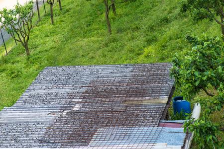in particular: Roof particular asbestos outdoor Stock Photo