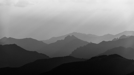 contrasted: A sea of mountains in black and white contrasted