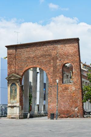 lorenzo: Columns of San Lorenzo in Milan. Italy Stock Photo