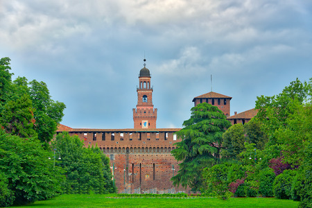 sforza: The  Sforza castle in Milan with its park