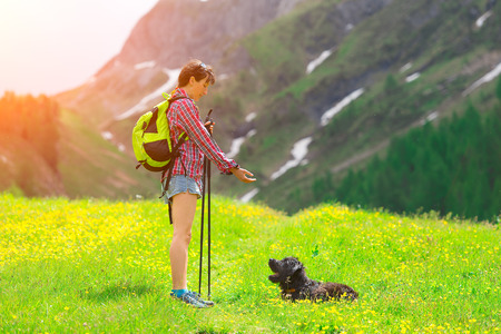 instructs: Girl instructs his dog in the meadow in the mountains Stock Photo