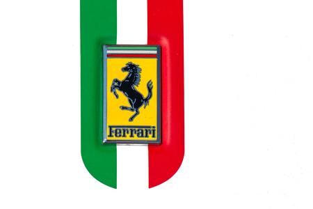 San Pellegrino terme, Italy - August 28, 2016: Detail of the symbol with Italian flag of a Ferrari car on display during the Football tournament