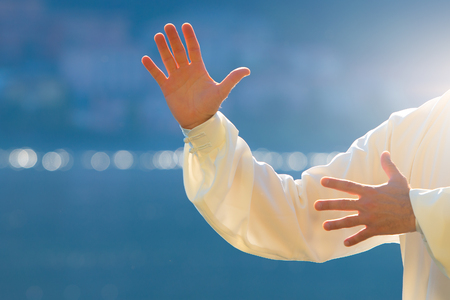respiration: practice of Tai Chi Chuan in the park. Detail of hand positions