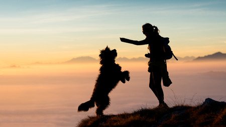 Girl gives food to his mountain dog photo silhouettes with a spectacular backdrop of clouds and mountains Stock Photo