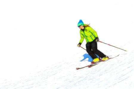 ski slope: Ski instructor watercolor style of ski slope in winter Stock Photo