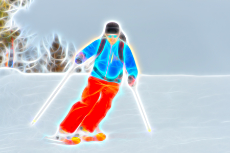 ski slope: Skier colorful watercolor style on ski slope Stock Photo