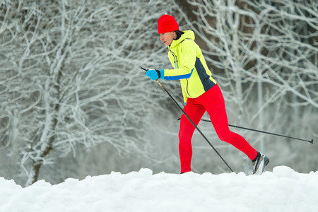 Cross-country skiing classic technique  practiced by woman