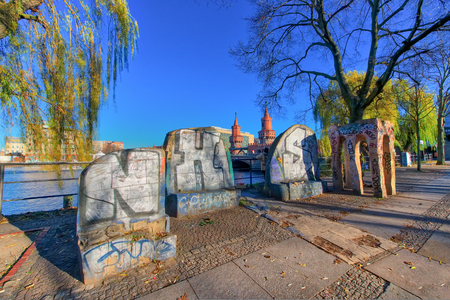 or spree: Berlin , Germany - November  29, 2016: Glimpse near the Oberbaumbr���¼cke bridge. hDR image Editorial