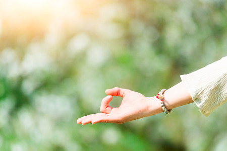 Hand in yoga positions in spring nature Stock Photo