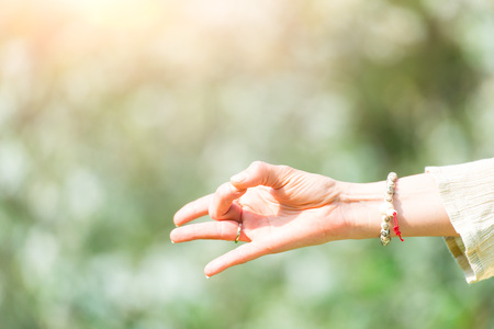 Hand in yoga position in nature of spring