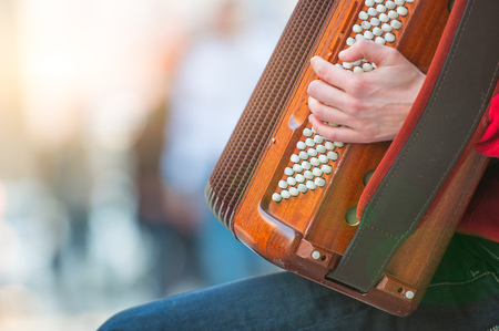 Accordion player in the street.