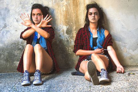 Girl who is drugged with heroin and the same girl she wants to quit. Stock fotó