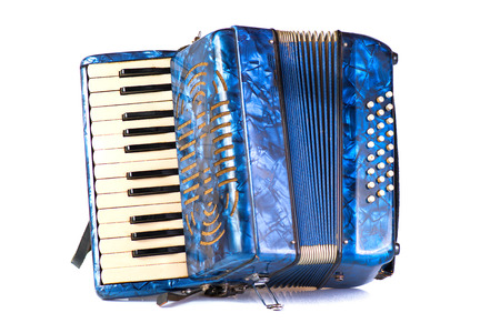 Blue Accordion popular musical instrument on white background