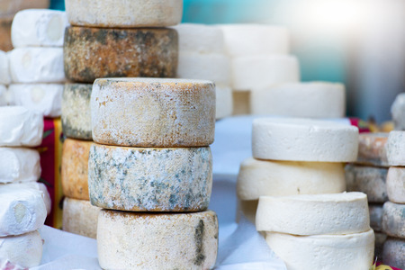 Traditional artisan cheese wheels composition.