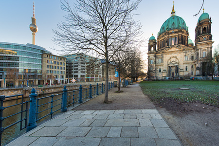 Berlin Cathedral and TV tower with River Spree . Stock Photo