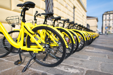 Bicycles in public use in the city. Stock Photo