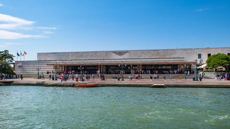Venice, Italy - August 212018 :Santa Lucia station with tourists departing and arriving
