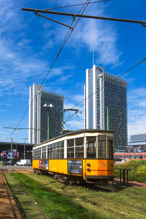 Milan, Italy - September 7 2018: Passage of a tram in the area of the Porta Garibaldi station Stock Photo