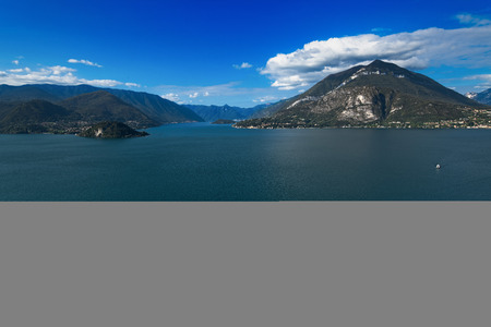 View towards Bellagio division between lake branch of Lecco and Como with the houses of Varenna, Archivio Fotografico