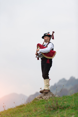 Bergamo bagpipe. Traditional instrument of northern Italy similar to the Scottish instruments and Galician gaita.