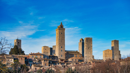 The medieval village of San Gimignano with its famous towers. in tuscany Italy Stock Photo