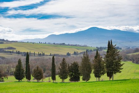 Mount Amiata seen from the Val dOrcia