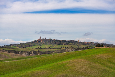 The Val dOrcia in Tuscany Italy with the medieval village of Pienza