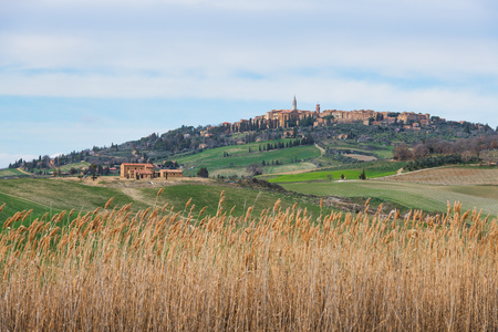 Medieval town of Pienza in Tuscany Italy. In a typical landscape Stock Photo